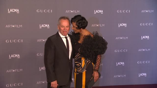 wolfgang puck, gelila assefa at lacma hosts 2012 art + film gala honoring ed ruscha and stanley kubrick presented by gucci on 10/26/12 in los... - wolfgang puck stock videos & royalty-free footage