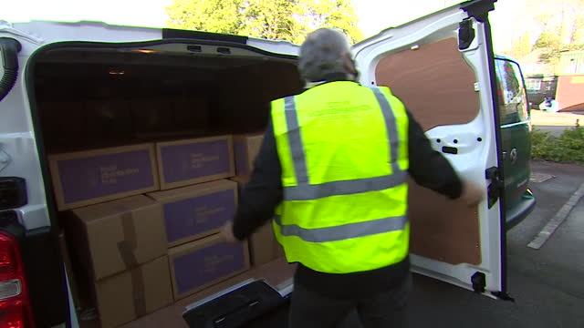 wolverhampton labour leader delivering food parcels after the government is no longer supplying free school meals during school holidays during the... - west midlands stock videos & royalty-free footage