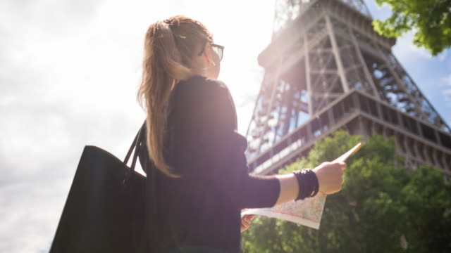 Woman admiring Eiffel Tower while walking the streets of Paris on a sunny day