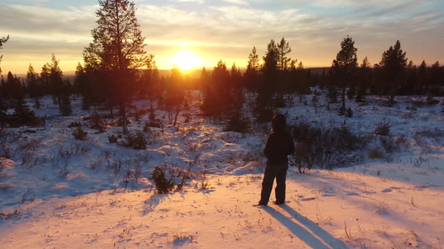 woman admiring the sunset at pallas-yllästunturi national park, lapland, finland - admiration stock videos and b-roll footage
