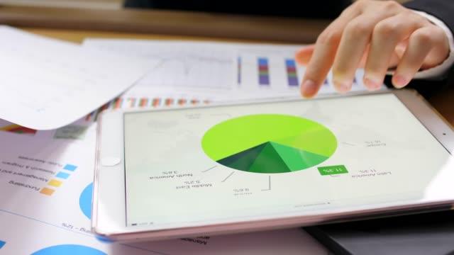 stockvideo's en b-roll-footage met vrouw analyse van financiële statistieken - tablet pc