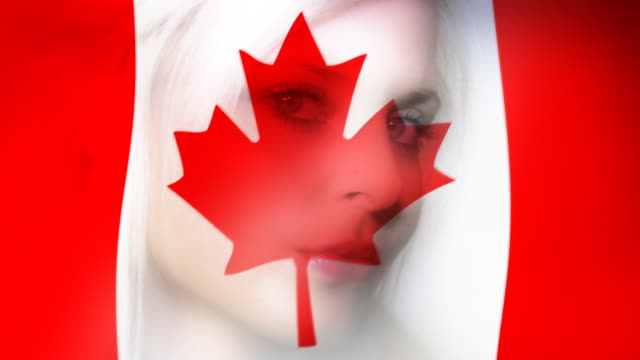 Woman and a Canadian flag