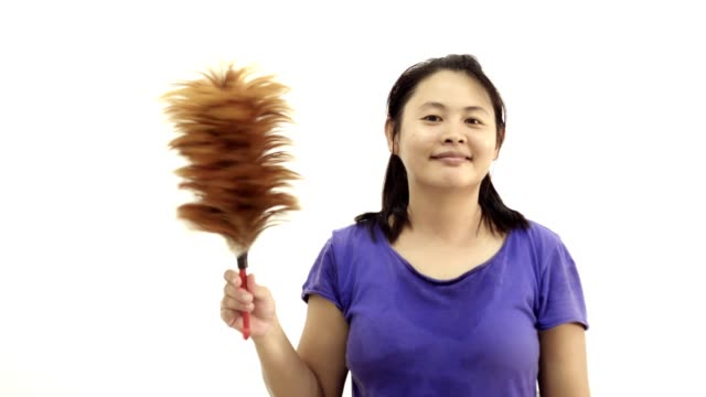 woman and broom-cotton swab cleaning cheerful