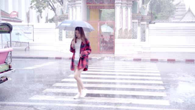 stockvideo's en b-roll-footage met vrouw en vrienden kijken naar kaart. aziatische vrouw genieten voor mijlpaal van bangkok wat pho in bangkok stad. aziatische vrouwen verspreiden parasols om de belangrijkste tempels van thailand op regenachtige dagen te verkennen - achterover leunen