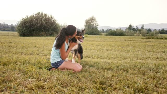 vídeos de stock e filmes b-roll de slo mo woman and her border collie playing in the meadow - ajoelhar