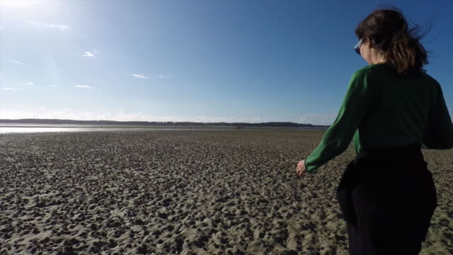 woman and her son walking on beach at low tide, arcachon bay - low tide stock videos & royalty-free footage