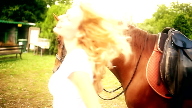 woman and horse - domestic animals stock videos & royalty-free footage