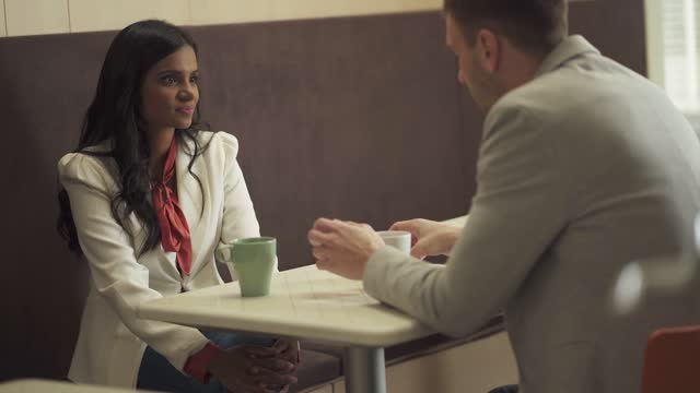 woman and man in a cafe - indian couple tea stock videos & royalty-free footage