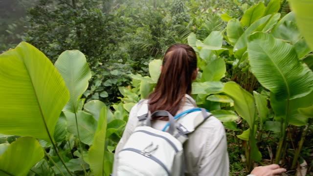 CU POV Woman and man with daypacks hiking through thick jungle leaves / Lake Atitlan, Guatemala