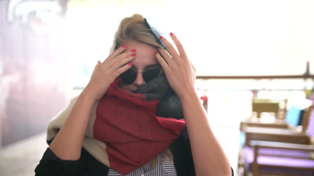 woman and the scarf - scarf stock videos & royalty-free footage