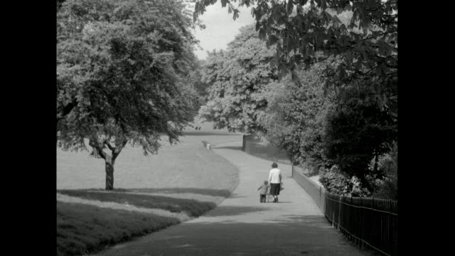 woman and toddler walk along a path in an empty park; 1957 - diminishing perspective stock videos & royalty-free footage