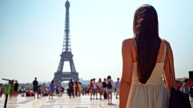woman approaching the eiffel tower - church stock videos & royalty-free footage