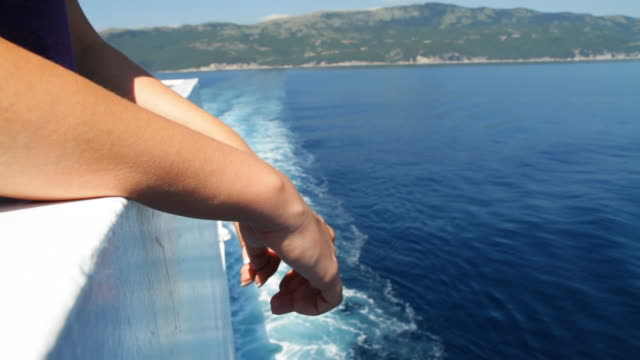 hd: woman arms on a ferry's fence - ferry deck stock videos & royalty-free footage