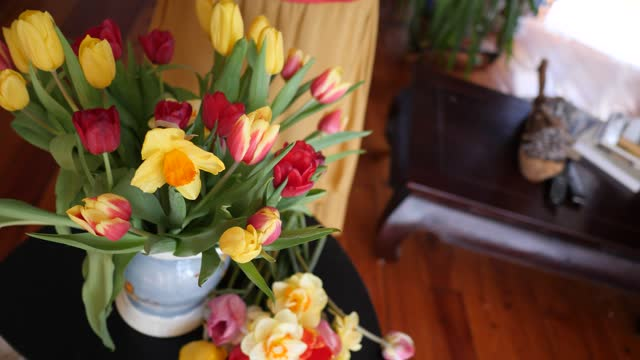woman arranging tulips in a vase - vase stock videos & royalty-free footage