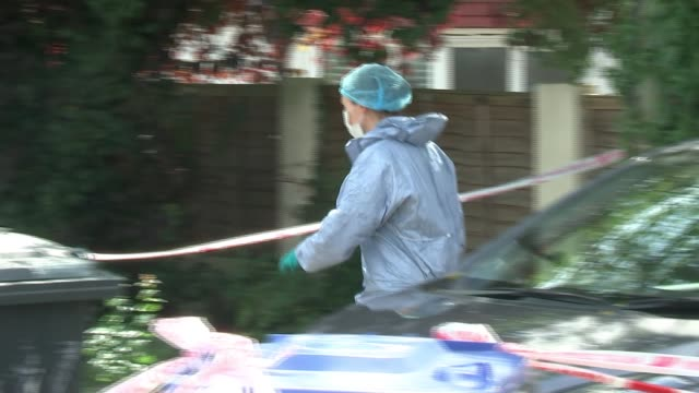 woman arrested on suspicion of murder following death of baby in wembley england london wembley ext forensic van at scene of crime woman crying as... - crime and murder stock videos & royalty-free footage