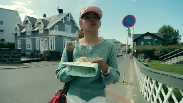 Woman asian enjoy travel City of Reykjavík in Iceland, Slow motion