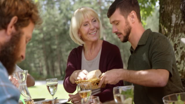 woman at a picnic asking a young man to pass the bread - five people stock videos & royalty-free footage