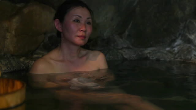 Woman at a traditional bath in Japan