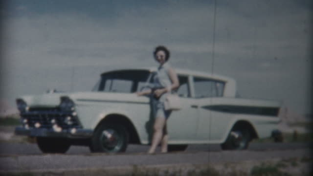 woman at badlands national monument 1959 - 1959 stock videos & royalty-free footage