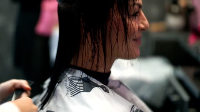 woman at hairdressing salon. - wet hair stock videos & royalty-free footage