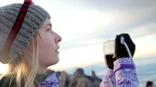 woman at the mount kinabalu summit montage - head torch stock videos & royalty-free footage