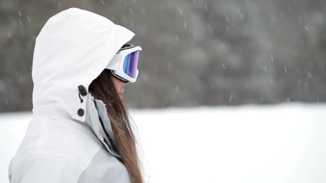 woman at the snow - formal glove stock videos and b-roll footage
