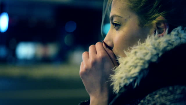 woman at the street. - cold temperature stock videos & royalty-free footage
