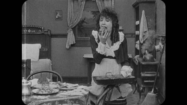1916 woman (mabel normand) bakes cakes that break plates - muffin stock videos and b-roll footage