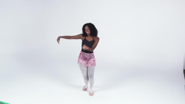 ws woman ballet dancing in studio / orem, utah, usa    - orem stock-videos und b-roll-filmmaterial