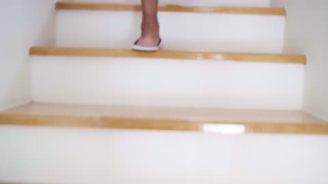 woman barefoot step walking up stairs in home. - staircase stock videos & royalty-free footage