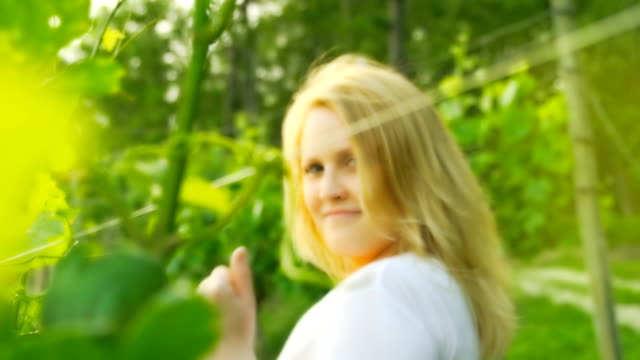HD SLOW MOTION: Woman Beckoning In The Vineyard