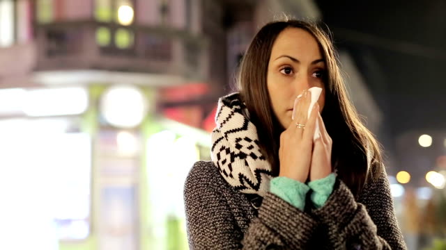 woman blowing nose - sneezing stock videos & royalty-free footage