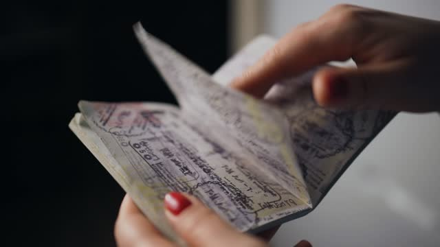 woman browsing through immigration stamps in ukranian passport - emigration and immigration stock videos & royalty-free footage