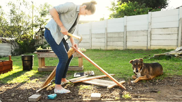 donna che costruisce una scatola di piantagione a mano nel suo cortile - bricolage video stock e b–roll