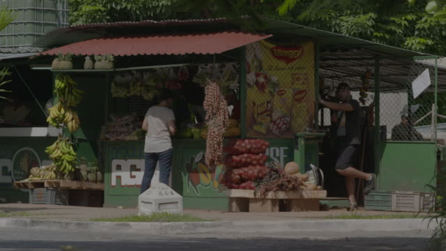 Woman buying produce at fruit stand