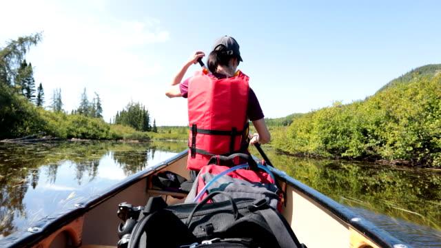 vidéos et rushes de femme canot au parc national des grands-jardins, québec, canada - pagayer