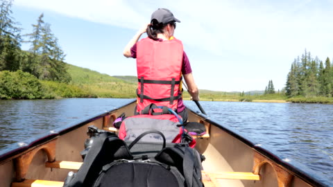 woman canoeing at parc national des grands-jardins, quebec, canada - majestic stock videos & royalty-free footage