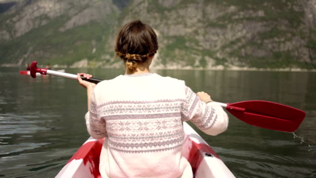 woman canoeing - fjord stock videos & royalty-free footage