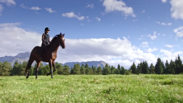 TS Woman cantering with her horse across a mountain meadow