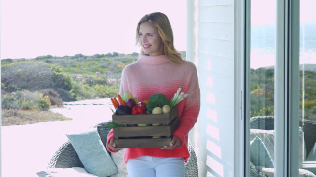 stockvideo's en b-roll-footage met a woman carrying a box of vegetables - tuindeur