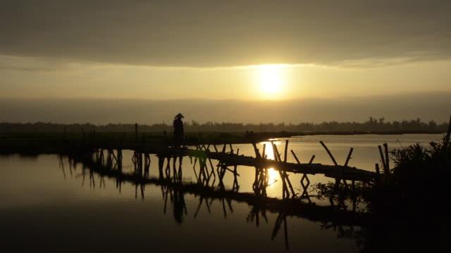 Woman carrying yoke baskets over bamboo bridge at sunset, Vietnam