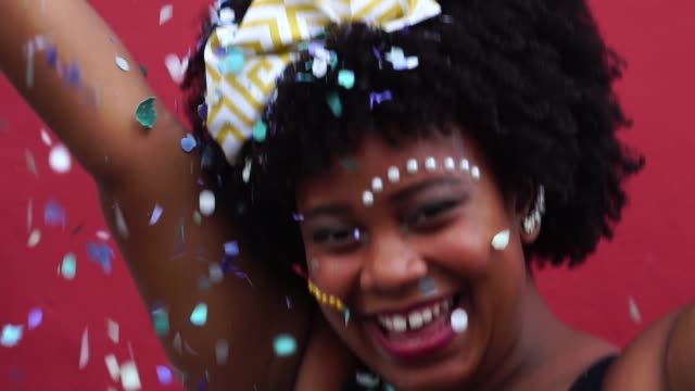 Woman Celebrating Life With Confetti