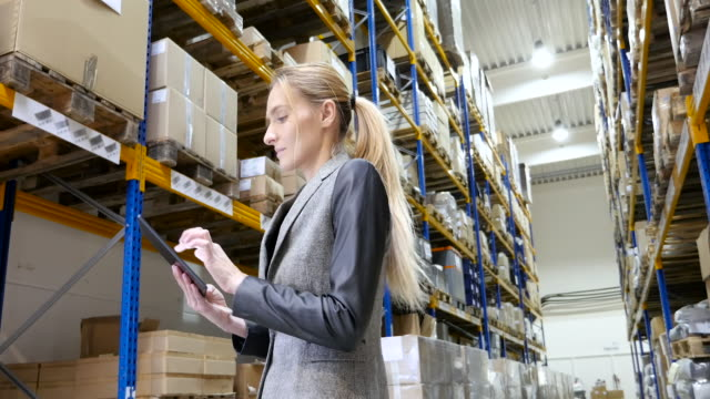 woman checking supplies in the warehouse - warehouse stock videos & royalty-free footage