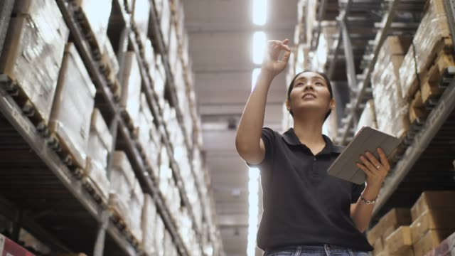 woman checking supplies in the warehouse - freight transportation stock videos & royalty-free footage
