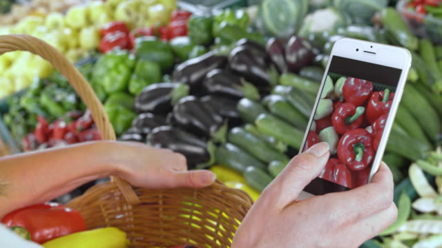 Woman checking types of produce on her phone standing by the marketstall