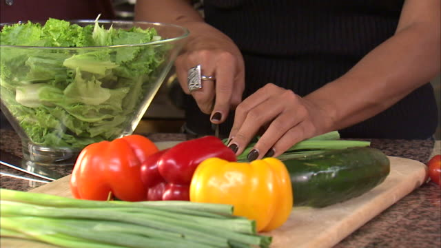 cu woman chopping chives on board / heber city, utah, usa - chive stock videos & royalty-free footage