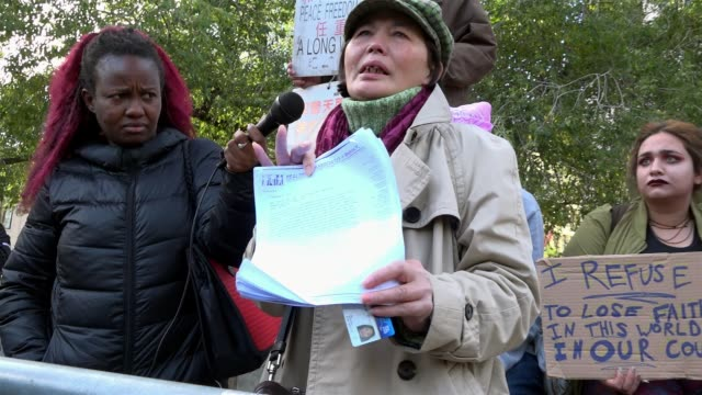 woman claims to have been denied food stamps / anti trump protesters rally at union square park in opposition to donald trump's presidency / 14th... - food stamps stock videos & royalty-free footage