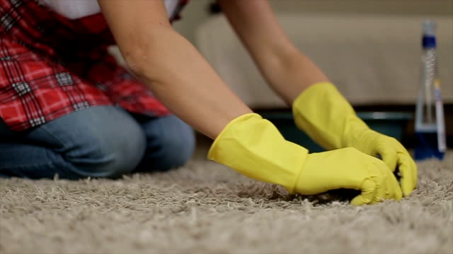 woman cleaning a carpet - carpet stock videos & royalty-free footage