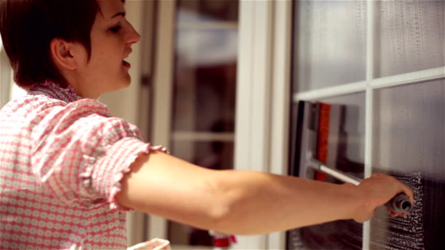 woman cleaning big window at a sunny day. - window washer stock videos & royalty-free footage