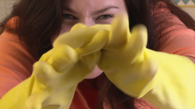 woman cleaning - washing up glove stock videos & royalty-free footage